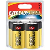 Energizer A95BP-4 Eveready Gold D Battery (4-Pack), Black