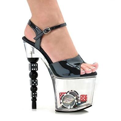 Women's 75 Inch Dice Heel Sandal (Black;5)