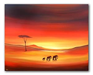 African Elephants Modern Canvas Art Painting - By SCA ART, Sarah Featherstone by SCA ART