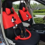 Mickey Mouse ,18pcs-autocar Front & Rear Seat Covers, Car Accessories, Automotive Car Seat Cushion,car Steering Wheel Cover(red+black)