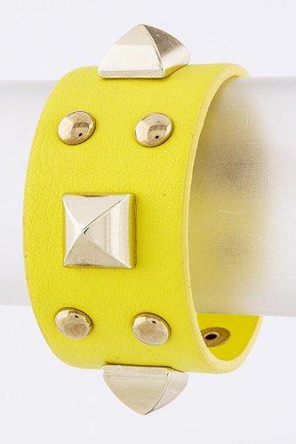 Karmas Canvas Stud Faux Leather Bracelet (Yellow) front-1067439