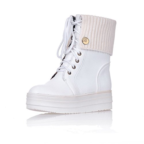 Voguezone009 Womens Closed Round Toe Mid Heel Soft Material Pu Solid Boots With Bandage, White, 40