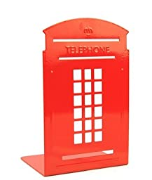 STEVE YIWU London telephone booth thickening wrought iron students bookends--Two Packaging(Color Randomly Send)