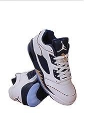Nike Jordan Men\'s Air Jordan 5 Retro Low White/Mtlc Gold Star/Mid Navy Basketball Shoe 9 Men US