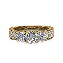 buy 1.2 Ct Round Cut Diamond Pave Set Flake Edge Engagement Ring Gold Gia (F Color, Si2 Clarity)
