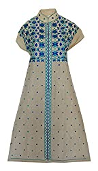 Phulkari Craft Women's Cotton Unstitched Kurti (PC0006_Beige_Free Size)