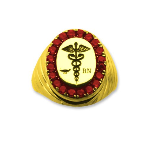 Registered Nurse 14k Professional Ring with Rubies