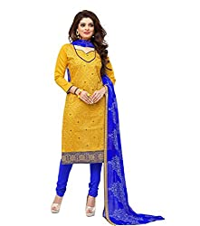 Kavvya Fashion Yellow Embroidred Chanderi Dress Material