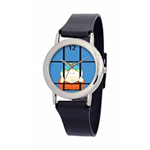 South Park Men's D1535SS414 Torino Collection Cartman Black Plastic Strap Watch