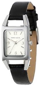 Anne Klein Women's 107437SVBK Silver-Tone Casual Black Leather Strap Watch