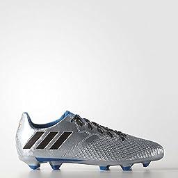adidas Performance Messi 16.3 Fg J Skate Shoe (Little Kid/Big Kid), Silver Metallic/Black/Shock Blue, 1 M US Little Kid