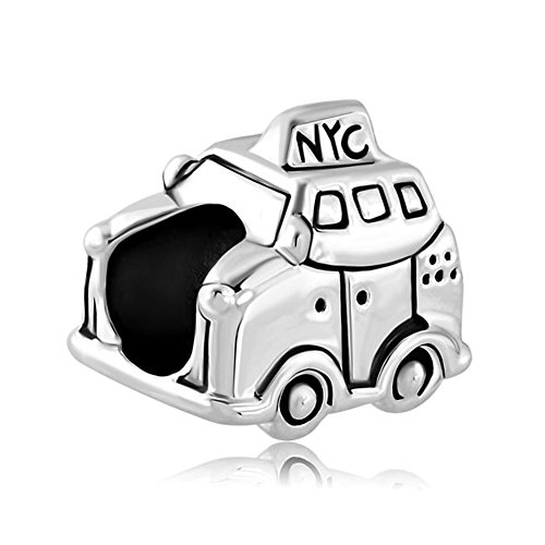 Charmed Craft Silver Plated New York Car Taxi Travel Charms European Beads Fit Pandora Bracelets Jewelry