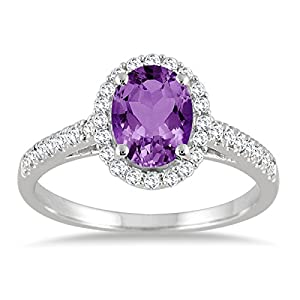 1.50 Carat Oval Amethyst and Diamond Halo Ring in 10K White Gold