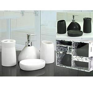 Set bagno 4 pezzi portasapone portaspazzolino bianco nero for Arredo casa amazon