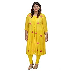 Damyantii Yellow Georgette 3/4 Sleeve Anarkali casual XXL Kurta (Dmk_035_XXL)
