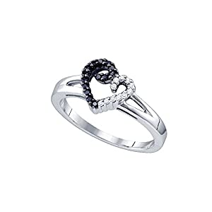 Sterling Silver Black Colored White Diamond Heart Love Valentines Fashion Ring (.14 cttw.) Size 6