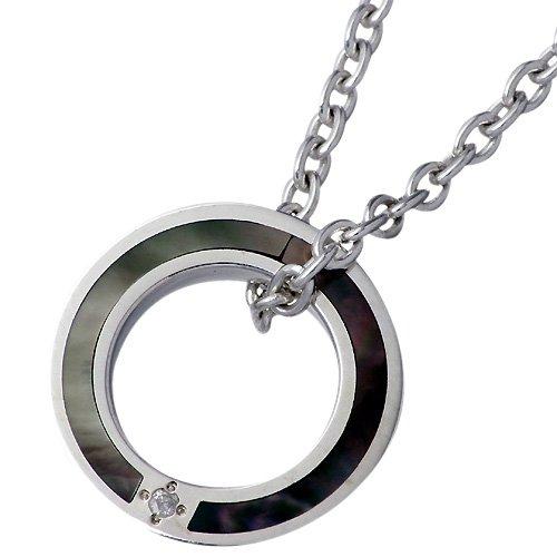 AQUA SILVER アクアシルバー リング型 シルバー ネックレス チェーン付き ブラックシェル ダイヤモンド SV ASP217-DM-BK-CL