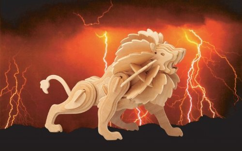 Puzzled, Inc. 3D Natural Wood Puzzle - Lion - 1