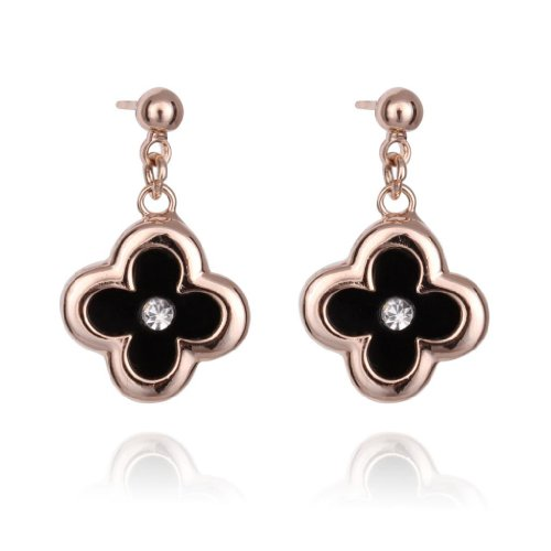 FASHION PLAZA Rose Gold Finish Red/Black Simulated Pearl Shell Flower Stud Earrings with Cubic Zirconia