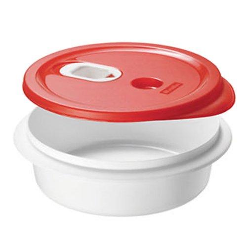"""Rotho Piatto per microonde """"Micro Clever"""" - Ciotola per microonde, piatto fondo con coperchio - Con valvola nel coperchio - Contenitore per microonde privo di BPA - Lavabile in lavastoviglie - capacità 1 l per piatto - bianco/rosso"""