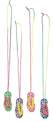 Hibiscus Flip Flop Necklaces (1 dozen) - Bulk - 1