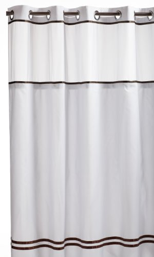 Hookless RBH40ES305 Fabric Shower Curtain with Built in Liner  - White/Brown (Hookless Shower Curtain compare prices)