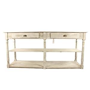 meuble console drapier bois ceruse blanc 2 tiroirs 190x54x87cm cuisine maison. Black Bedroom Furniture Sets. Home Design Ideas