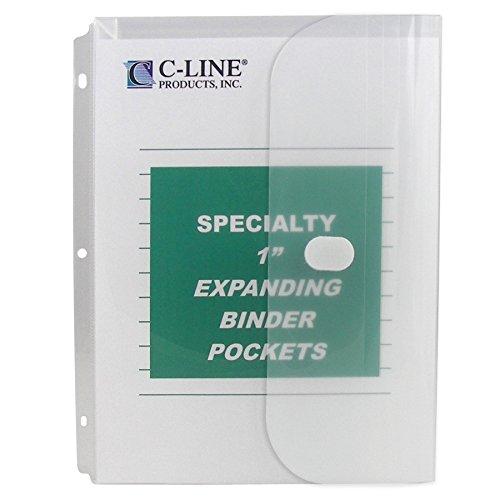C-Line Biodegradable Acid-Free Poly Binder Pocket with 1-Inch Gusset, Side Loading, Clear, 10 Pockets per Pack (33747) Acid Free Folders
