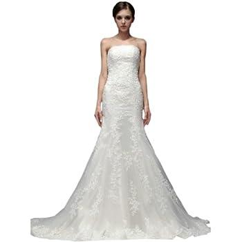 VILAVI Women's Mermaid Lace Tube Top Strapless Lace-up Appliques Wedding Dresses deal 2015