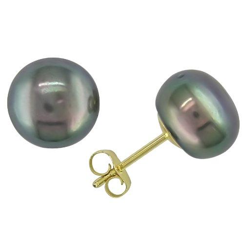 14k Yellow Gold Freshwater Black Pearl Stud Earrings