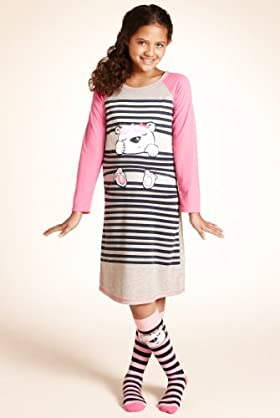 Older Girls' Bear Nightdress With Socks