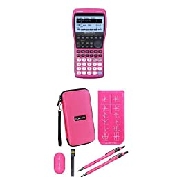 Casio FX-9860 Pink Graphing Calculator With Travel Case And Essential Graphing Accessory Bundle, Pink