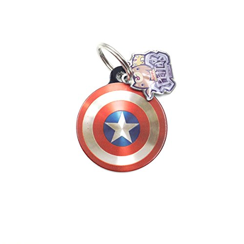 happypettag Personalized Pet Tag Captain America Pet ID Tag, Customized Pet ID Tags Dogs Cat ID Tags, Double Side Dye Sublimation. Includes up to 3 Lines of Customized Text on (Captain America Dog)