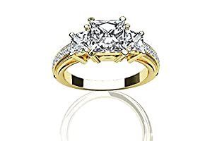 1.69 CARATS PRINCESS * EGL CERTIFIED * DIAMOND THREE STONE ENGAGEMENT RING ON 18K SOLID YELLOW GOLD