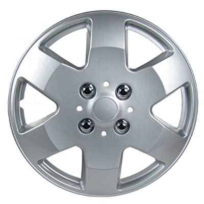 Four ABS Plastic Silver Colored Hubcaps - 14 Inch Diameter