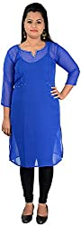 NelNik Women's Synthetic Kurta (Nel035_Medium, Blue, Medium)
