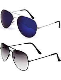 SHEOMY SUNGLASSES COMBO - SILVER BLUE MERCURY AVIATOR SUNGLASSES AND AVIATOR BLACK WHITE SUNGLASSES WITH 2 BOXES...