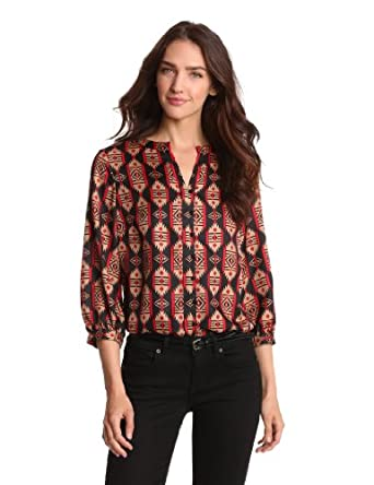 Jones New York Women's Peasant Style Tribal Printed Top, Wild Cherry Combo, Small