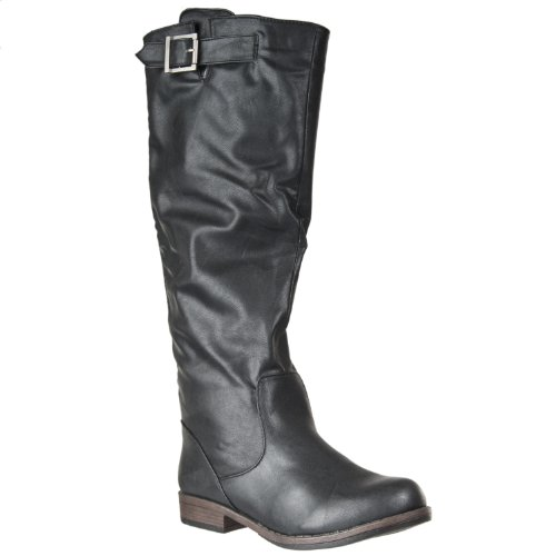 Riverberry Womens Montage Back-zip Tall Fashion Boot, Black, Size 5.5