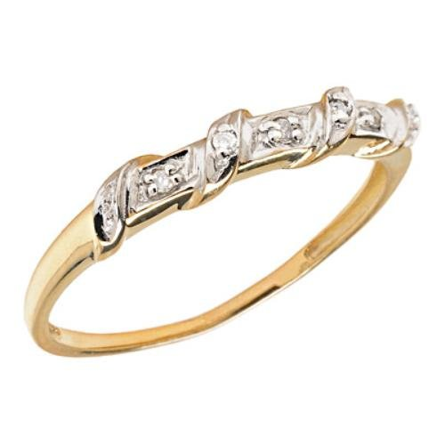 10k Gold Twisted Band Diamond Promise Ring