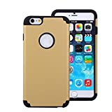 For iPhone 6 Plus Case, Nancy's Shop PC + Silicone 2-Piece Hybrid Impact Armored Protective Case Cover Skin for iPhone 6 Plus With Screen Protector + stylus (Luxury Gold/black)