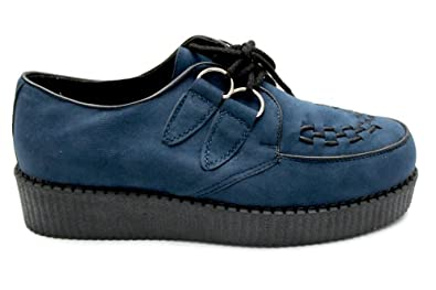 M0400Nvs Mens Navy Lace Up Punk Goth Brothel Creepers Shoes Boots Size Uk 7