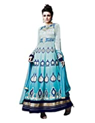 Lookslady Embroidered Light Blue Pure Georgette Thread Work Semi Stitched Anarkali Suit
