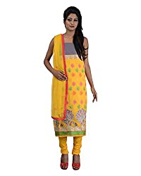 Mumtaz Sons Women's Cotton Unstitched Dress Material (MS111411D,Yellow)