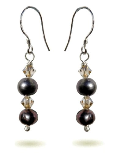 Handmade 925 Sterling Silver , Swarovski and Pearl drop Earrings FREE Delivery in UK Gift Wrapped