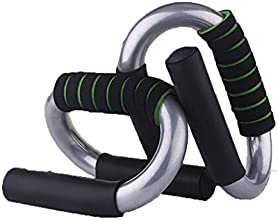 Practical Pair of S Push Up Bars For Home Fitness BlackampGreen