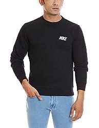 Nike Men's Round Neck Synthetic Sweatshirt (885259257401_545130 010_Medium_Black)