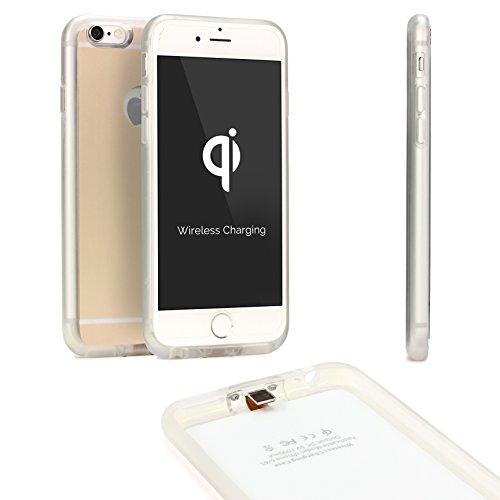 URCOVER® Back Case Cover Wireless Qi | Custodia Induttiva Apple iPhone 6 / 6S | Bordo in Silicone TPU Flessibile e Guscio Rigido in Champagne | Ricevitore Qi Integrato e Adattatore Lightning