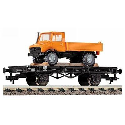 Fleischmann 5218 - Flachwagen, Bauart Xf19, beladen mit Wiking Unimog