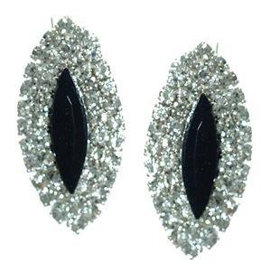 Yuridia Silver Jet Crystal Clip On Earrings